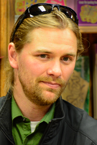 Photograph of Dave Schumway, Board Vice President for This House of Books, a community-owned, independent bookstore and tea shop in downtown Billings, Montana