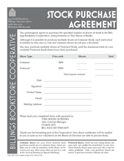 Stock Purchase Agreement for This House of Books, the community-owned independent bookstore in downtown Billings, Montana